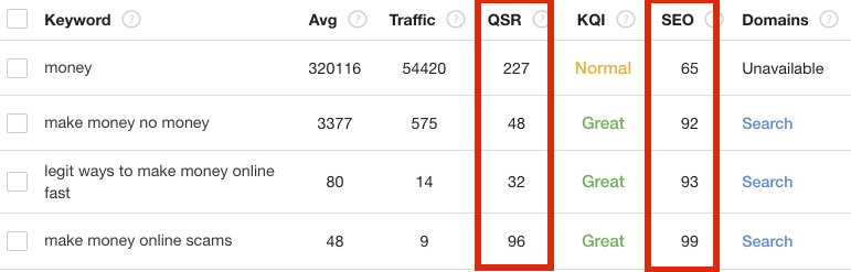 Jaaxy QSR and SEO stats